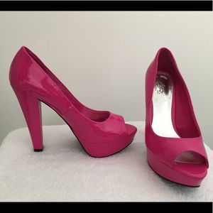 Hot Pink Platform Pumps